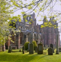 Melrose Abbey Colour Art Greetings Card