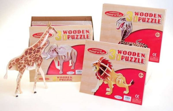 Wood 3D Puzzle Animals Colour (4 Asst) (DPU24)