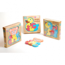Wood Deluxe Animal Puzzle (3 Asst)