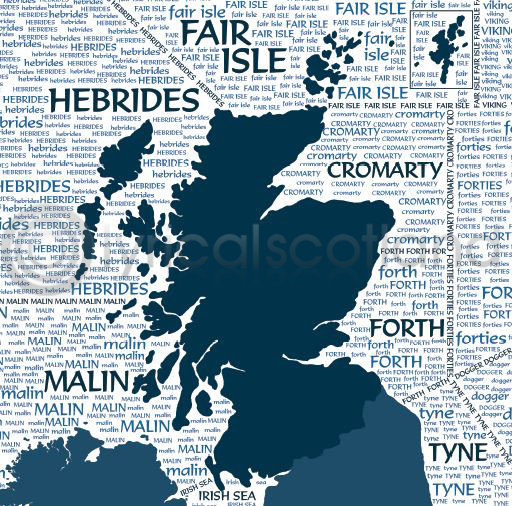 Scotland Shipping Forecast Colour Art Greetings Card