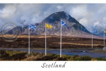 Buachaille Etive Mor & Flags - Scotland Postcard (HA6)
