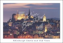 Edinburgh Castle & Old Town at Dusk, Edinburgh Postcard (H Std C
