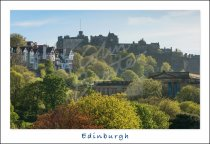 Edinburgh Castle beyond Princes St. Gardens, Edinburgh Postcard