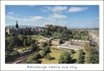 Edinburgh Castle & Princes St Gardens, Edinburgh Postcard (H Std