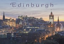Edinburgh Castle & City at dusk, Edinburgh 2 Postcard (H Std CB)