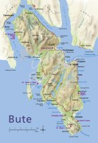 Map of Isle of Bute Postcard (V Std CB)