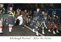 Edinburgh Streets After Tattoo Postcard (HA6)