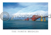 Forth Bridges & Rainbow Postcard (HA6)