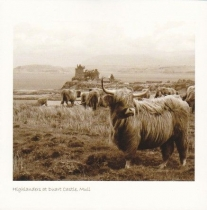 Highlanders At Duart Castle Sepia Greetings Card (LY)