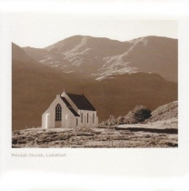 Polnish Church, Lochailort Sepia Greetings Card (LY)