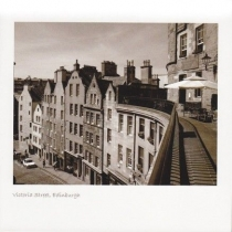 Victoria Street, Edin Old Town Sepia Greetings Card (LY)