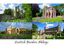 Scottish Border Abbeys Composite Postcard (H A6 LY)