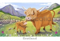 Highland Cow Cartoon Postcard (HA6)