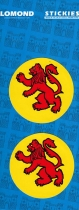 Lion Rampant Round x 2 Small Stickies